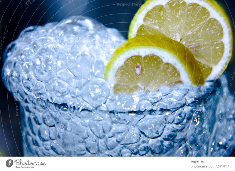 lemon bubble Fruit Beverage Cold drink Drinking water Lemonade Glass Healthy Wellness Life Water Glittering Fluid Juicy Sour Blue Beautiful Contentment Energy