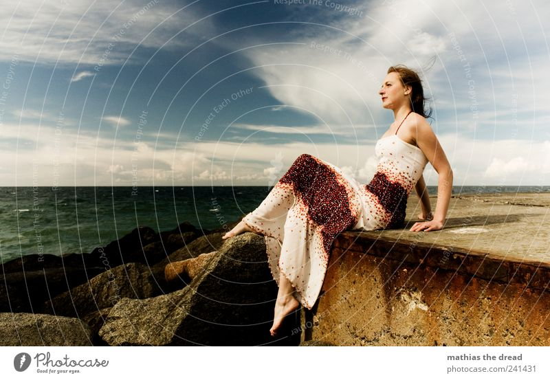 Human being Sky Nature Youth (Young adults) Water Beautiful Summer Feminine Eroticism Environment Style Adults Coast Waves Wind