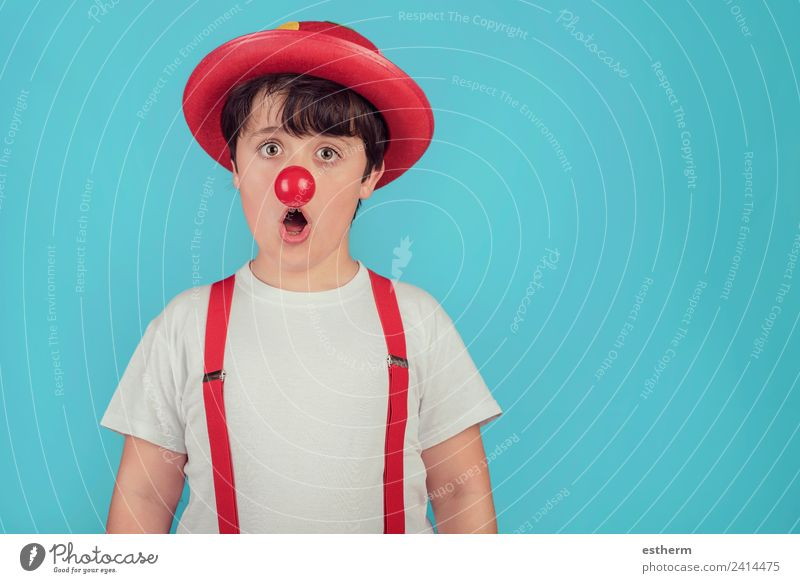 funny child with clown nose on blue background Lifestyle Joy Feasts & Celebrations Carnival Hallowe'en Fairs & Carnivals Birthday Human being Masculine Child