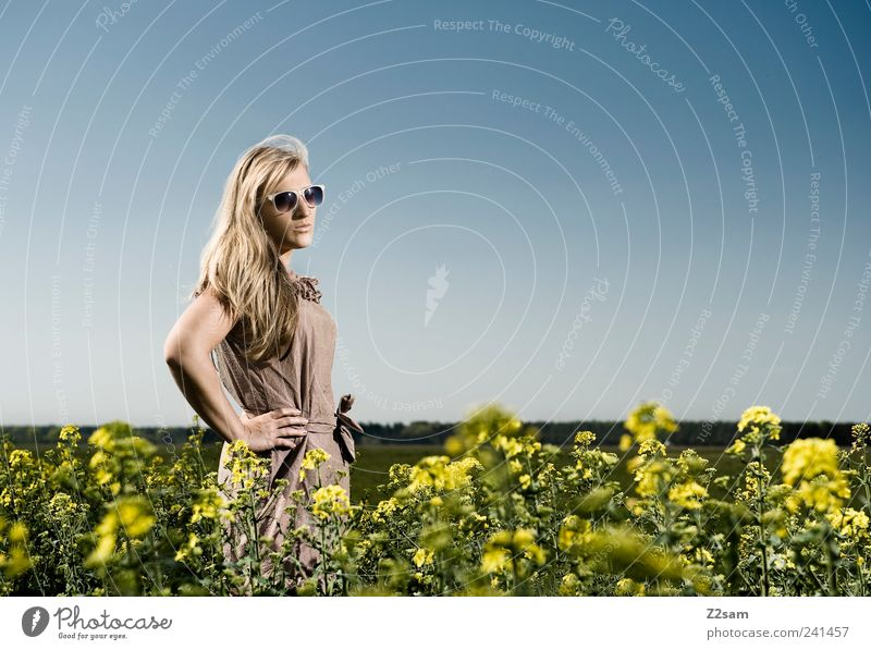 Human being Nature Youth (Young adults) Beautiful Sky Flower Summer Relaxation Feminine Style Landscape Power Field Blonde Adults Elegant