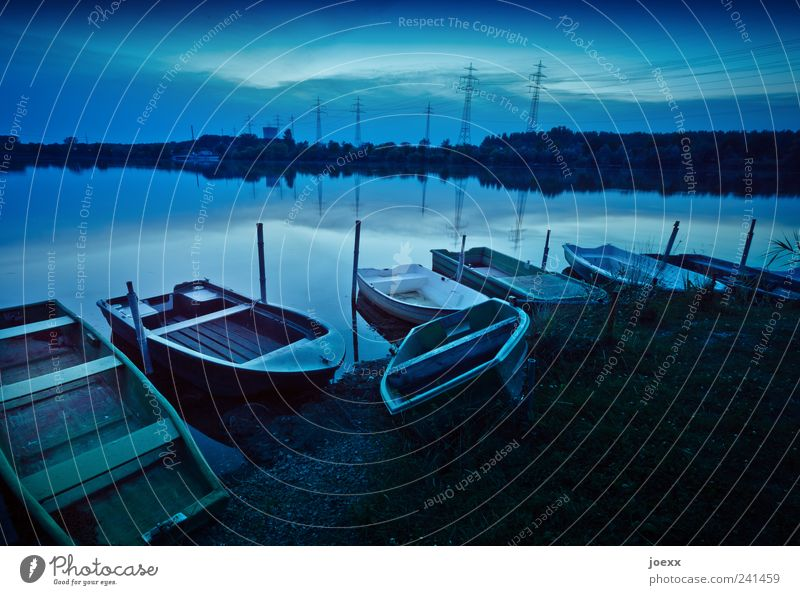 Water Sky Green Blue Calm Colour Lake Leisure and hobbies Idyll Lakeside Beautiful weather Electricity pylon Fishing (Angle) Rowboat
