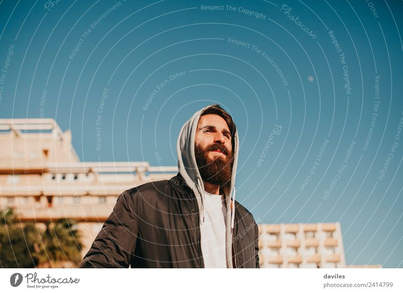 White bearded man posing in the city suburbs Beautiful Face Human being Young man Youth (Young adults) Man Adults 1 18 - 30 years Youth culture Sky Small Town