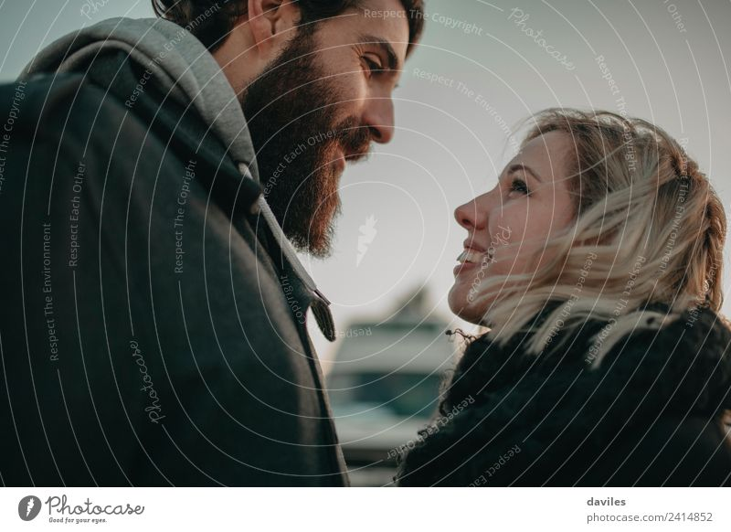Bearded man and blonde woman looking to each other lovely Lifestyle Human being Young woman Youth (Young adults) Young man Couple Partner 2 18 - 30 years Adults