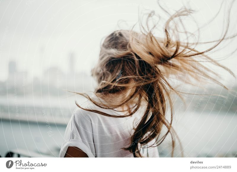 Blonde white woman moving the hair with the wind. Lifestyle Freedom Human being Feminine Young woman Youth (Young adults) Woman Adults Head 1 18 - 30 years