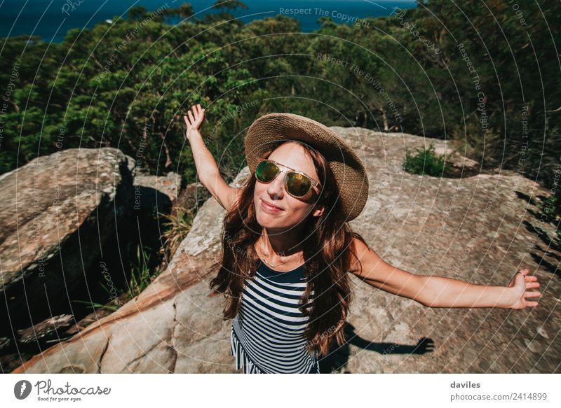 Smiling woman enjoying Australian forest Woman Human being Nature Vacation & Travel Youth (Young adults) Beautiful Landscape Sun Joy Forest Mountain