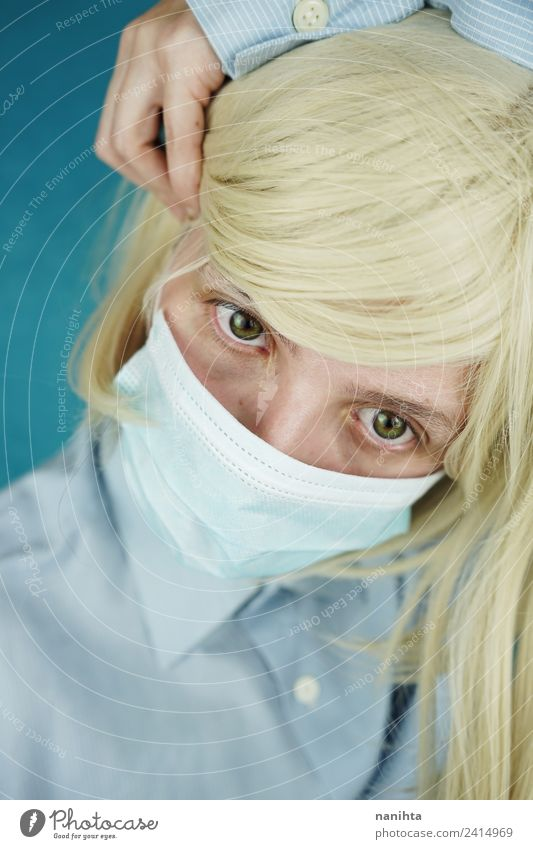 Young patient wearing a medical mask Design Healthy Nursing Medication Work and employment Profession Health care Patient Doctor Mask Human being Feminine