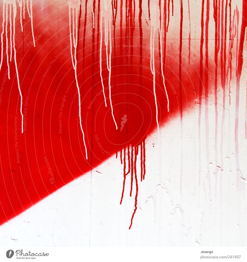 course Design Painter Wall (barrier) Wall (building) Facade Concrete Drop Exceptional Fluid Uniqueness Red White Colour Whimsical Inject Dye Transience Progress