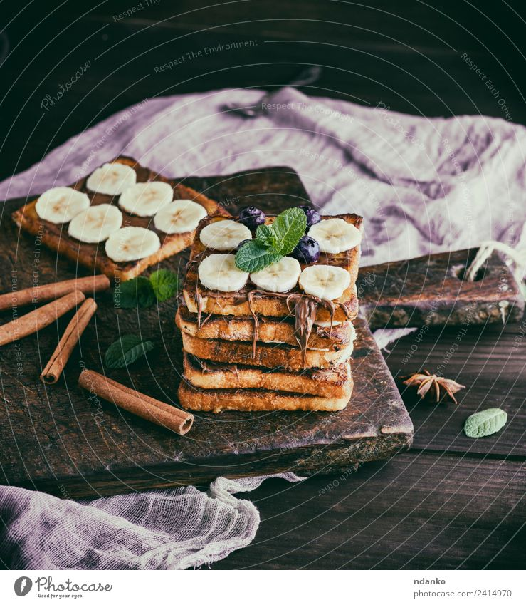 bread slices with chocolate and banana Fruit Bread Dessert Candy Nutrition Breakfast Flower Wood Fresh Delicious Above Tradition toast french Banana background