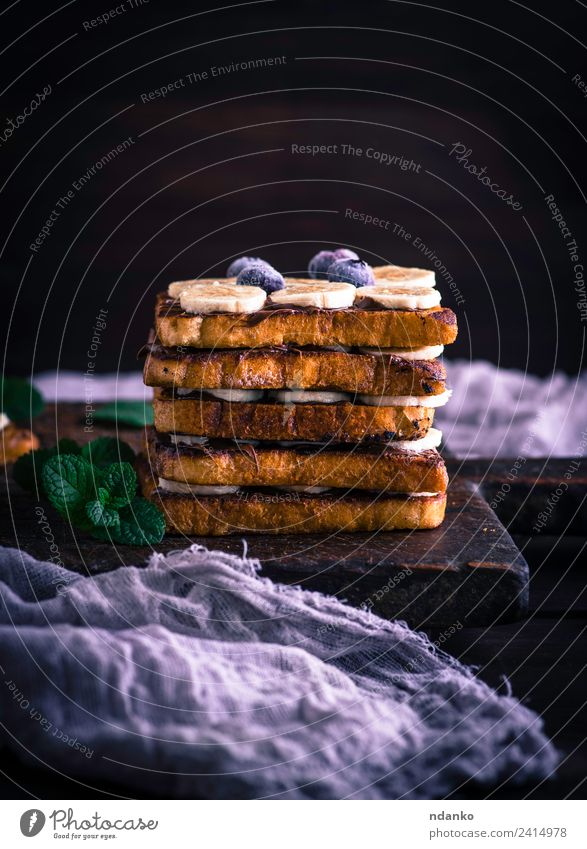 French toast with a banana Food Fruit Bread Dessert Candy Nutrition Breakfast Wood Eating Fresh Delicious Above Tradition french Banana chocolate background