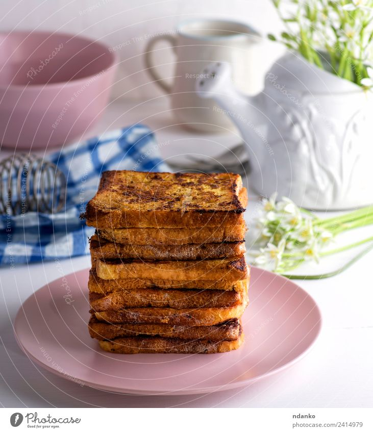 French toast Bread Breakfast Lunch Plate Eating Delicious Brown White french background Cereal Slice Wheat food healthy Sliced square grain Tasty Meal Sandwich