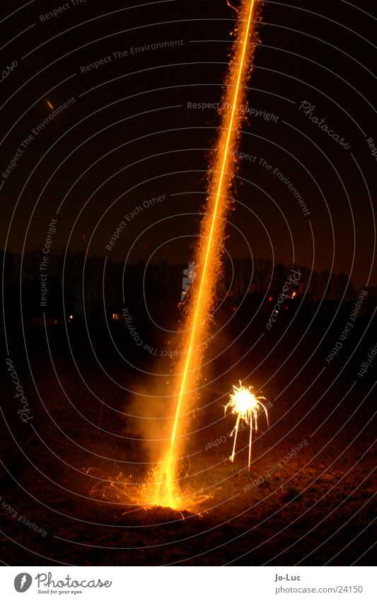 ignition New Year's Eve Long exposure Night Tails Radiation Firecracker Beginning nozzle Spark Blaze Smoke