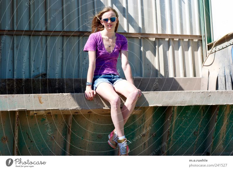 Human being Youth (Young adults) Feminine Moody Legs Blonde Sit Lifestyle Observe Violet Pants Sunbathing Sunglasses Surrealism Sneakers Young woman