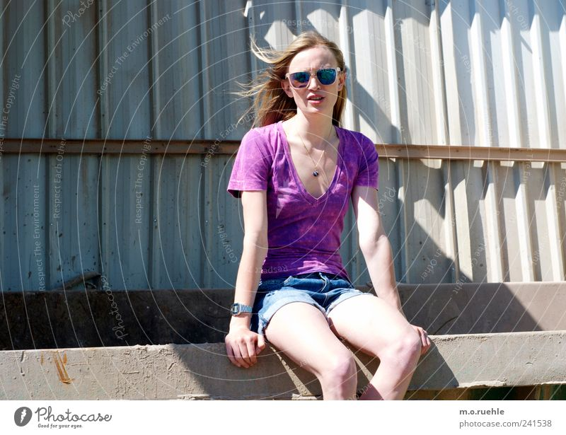 Youth (Young adults) Beautiful Feminine To talk Style Moody Legs Blonde Sit Skin Lifestyle Communicate Jeans Transience Longing Violet