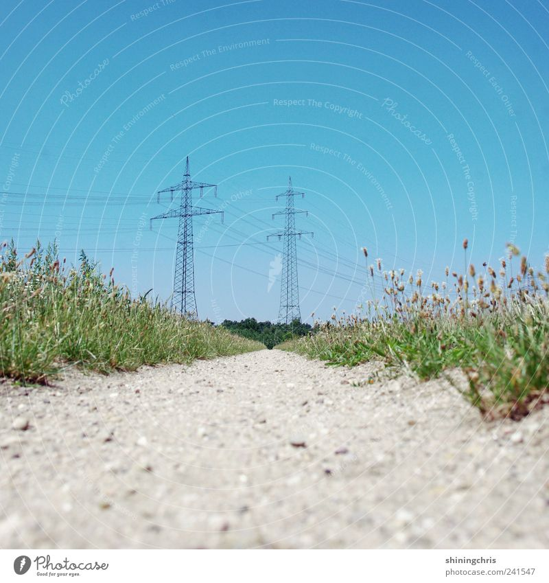 Nature Blue Summer Lanes & trails Field Energy industry Electricity Threat Might Footpath Beautiful weather Electricity pylon Advancement Nuclear Power Plant Cloudless sky Humor