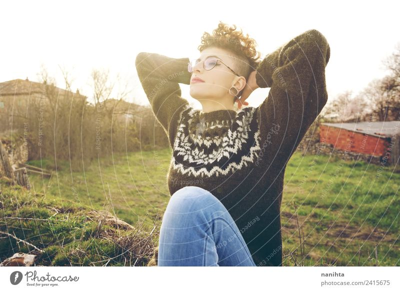 Young and androgynous woman enjoying the sunlight Human being Nature Vacation & Travel Youth (Young adults) Young woman Summer Beautiful Sun Relaxation Joy