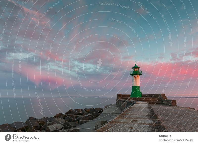 Sunset lighthouse, pier light Sassnitz - Ruegen, Baltic Sea Vacation & Travel Tourism Trip Adventure Far-off places Freedom Summer vacation Ocean Clouds Island