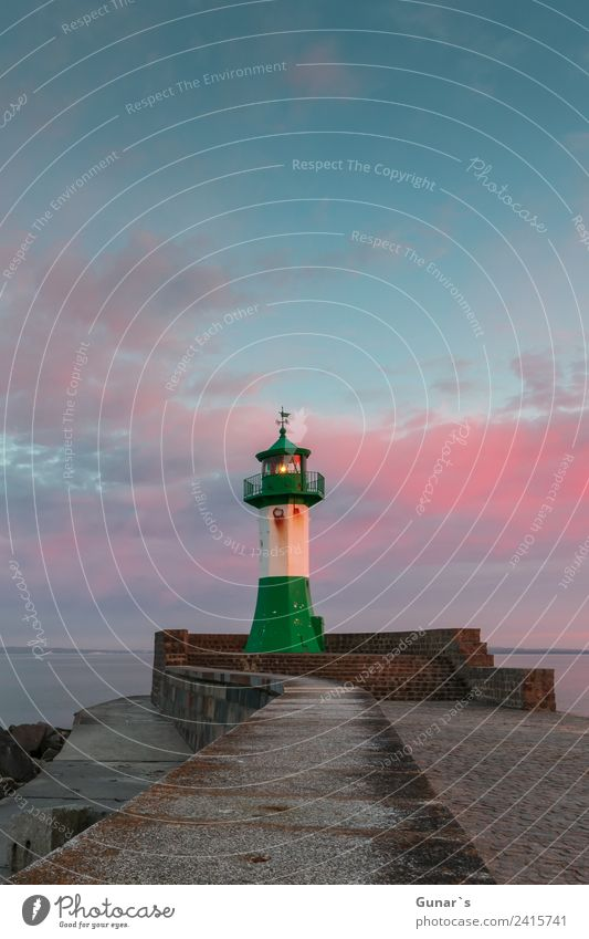 Sunset lighthouse, pier light Sassnitz - Ruegen, Baltic Sea Vacation & Travel Tourism Trip Adventure Far-off places Freedom Cruise Expedition Camping