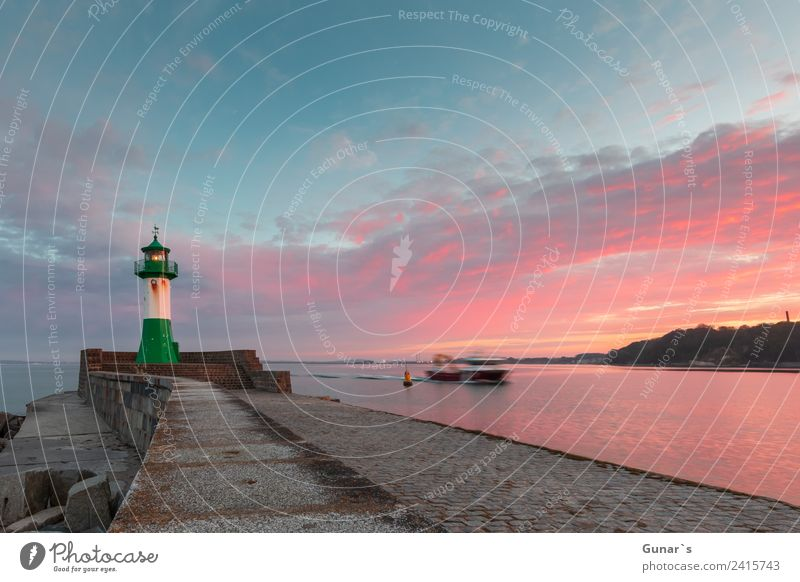 Sunset lighthouse, pier light Sassnitz - Ruegen, Baltic Sea Vacation & Travel Tourism Trip Adventure Freedom Cruise Summer vacation Ocean Landscape Air Water