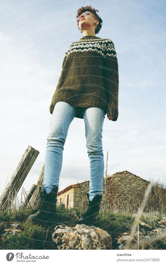Low view of a young woman in nature Lifestyle Style Wellness Calm Adventure Freedom Human being Feminine Androgynous Young woman Youth (Young adults) 1