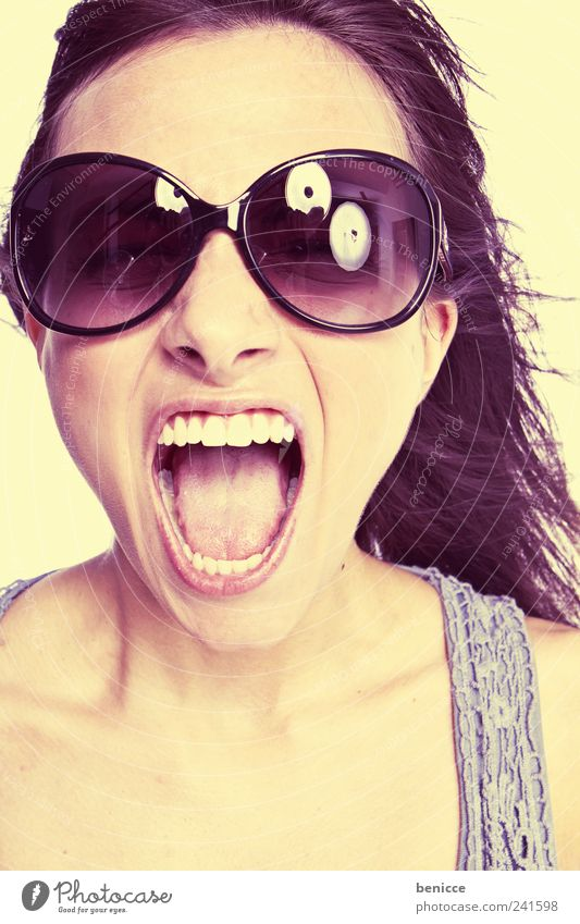 sunfun Woman Human being youthful Scream Sunglasses Retro Portrait photograph Teeth Mouth Open Loud Anger Aggression Yellow Pastel tone Neon Beautiful