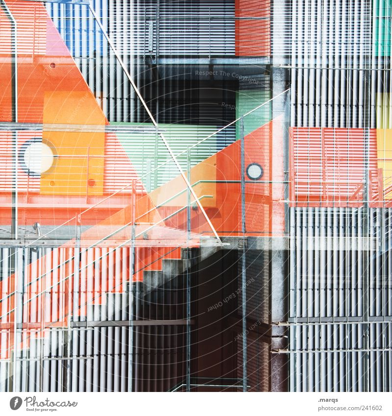 façade Style Facade Stairs Metal Line Stripe Exceptional Sharp-edged Hip & trendy Uniqueness Crazy Gray Chaos Perspective Whimsical Orange Banister Colour photo