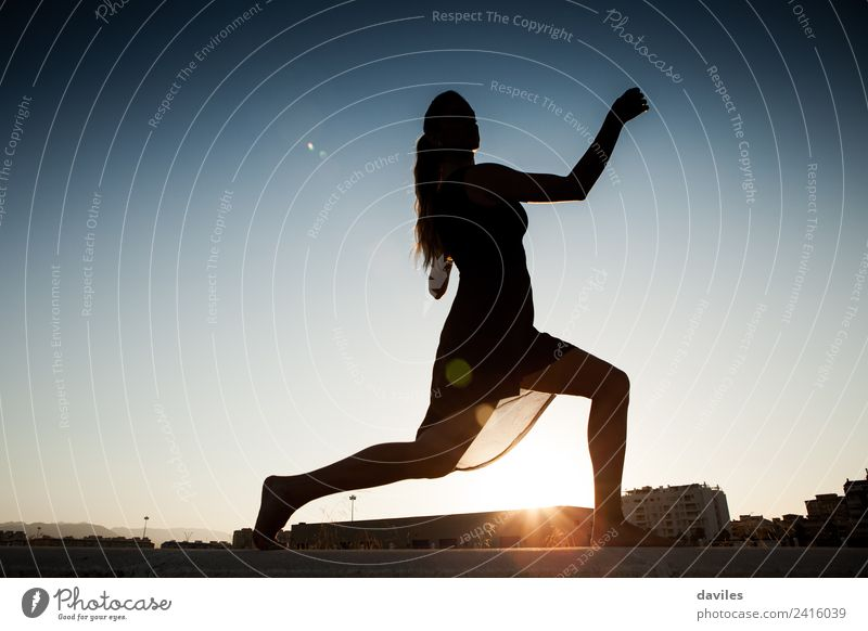 Silhouette of woman dancing outdoors Lifestyle Joy Fitness Sports Training Human being Young woman Youth (Young adults) Woman Adults 1 18 - 30 years Artist