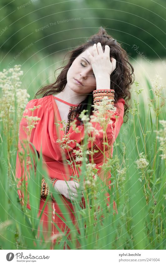 Human being Nature Youth (Young adults) Green Beautiful Plant Red Calm Relaxation Life Feminine Environment Grass Blossom Style Adults
