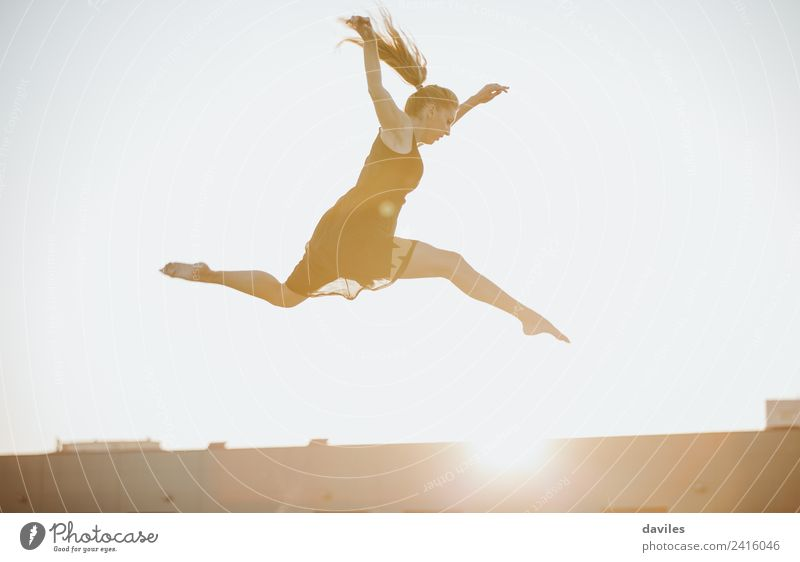 Blonde woman dancing and jumping against sunset light. Beautiful Freedom Dance Sports Fitness Sports Training Human being Feminine Young woman