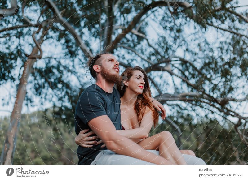 Cool hipster couple embraced in nature Woman Human being Nature Vacation & Travel Youth (Young adults) Man Summer White Tree Forest Mountain 18 - 30 years