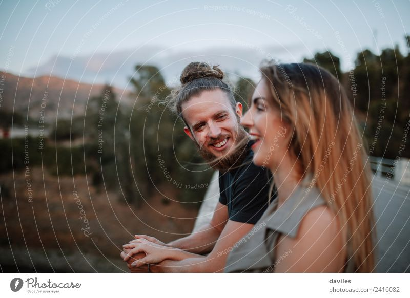 Young hipster couple having fun together Woman Human being Nature Youth (Young adults) Man Summer Beautiful White Joy Forest 18 - 30 years Adults Lifestyle Love