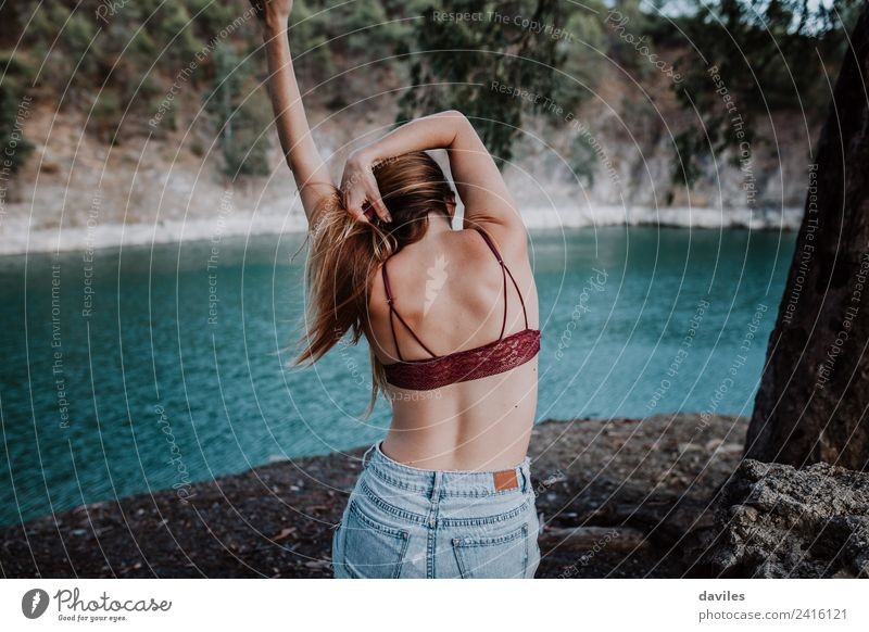 Back view of woman in underwear at riverside Lifestyle Style Body Skin Vacation & Travel Summer Mountain Dance Feminine Woman Adults 1 Human being 18 - 30 years