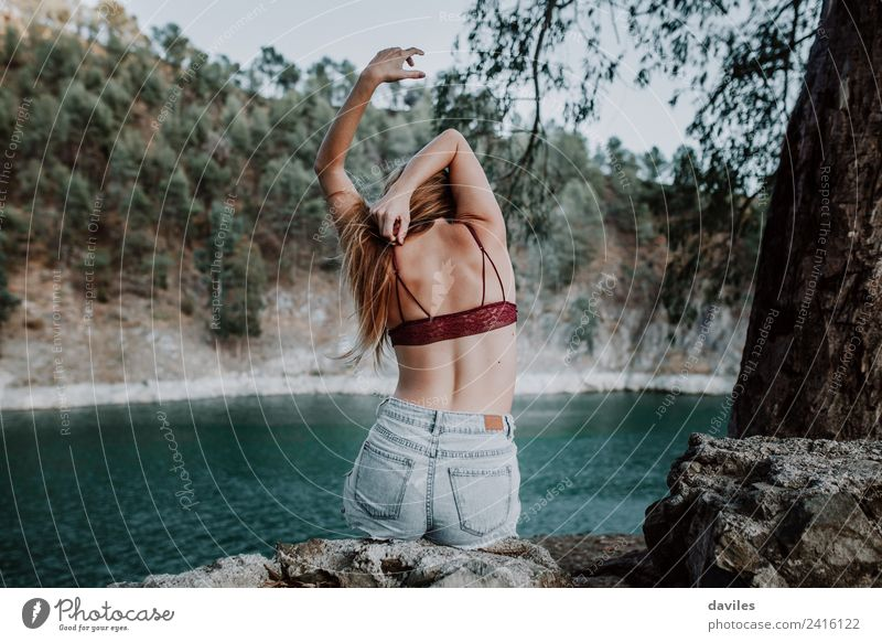 Back view of woman in underwear at riverside Lifestyle Style Body Skin Vacation & Travel Mountain Woman Adults 1 Human being Dancer Nature Lake River Fashion