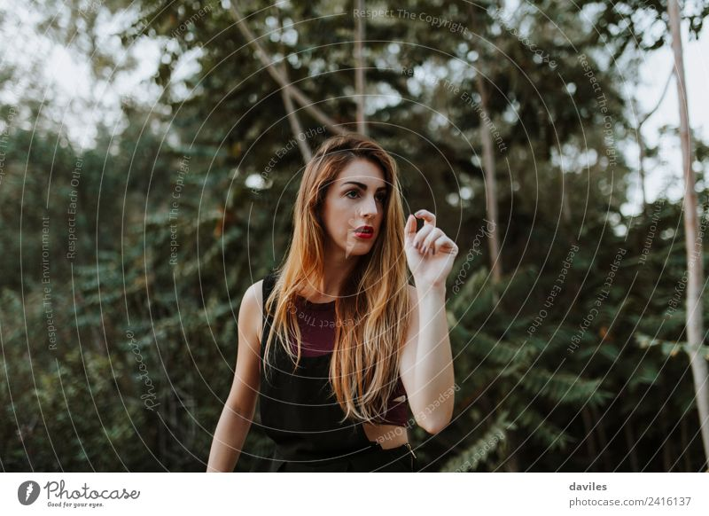 Portrait of casual alternative woman in the forest Woman Human being Nature Youth (Young adults) Summer Plant Green Landscape Tree Forest Mountain 18 - 30 years