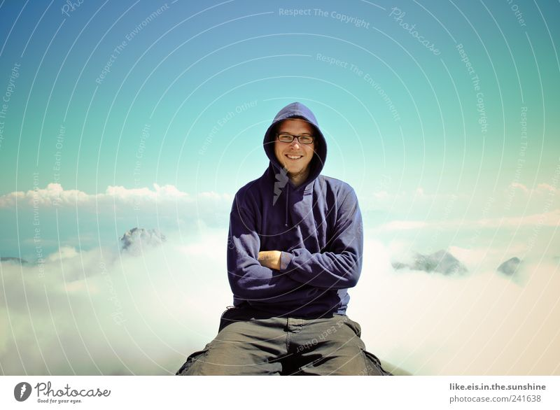 Human being Sky Man Youth (Young adults) Blue Vacation & Travel Summer Clouds Adults Far-off places Relaxation Landscape Freedom Mountain Contentment Fog