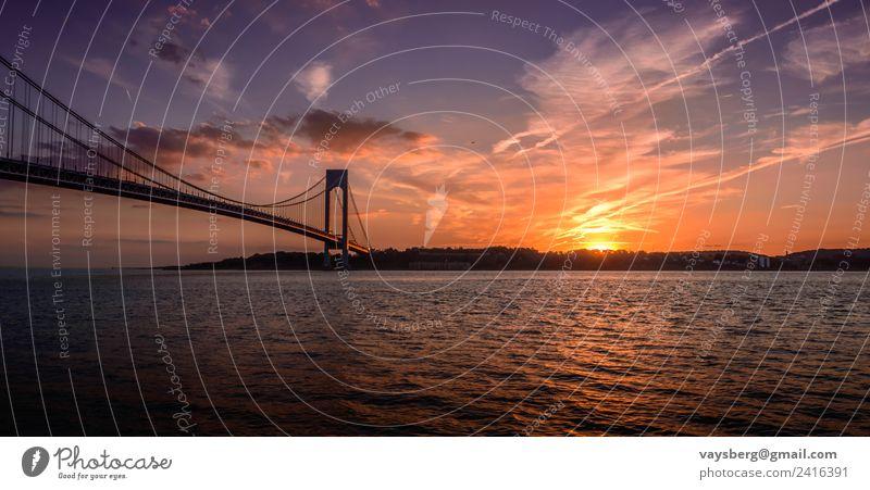 Sunset over the Verrazano bridge, taken in Brooklyn, NY Environment Nature Landscape Elements Water Sky Clouds Night sky Horizon Sunrise Coast River bank Bay