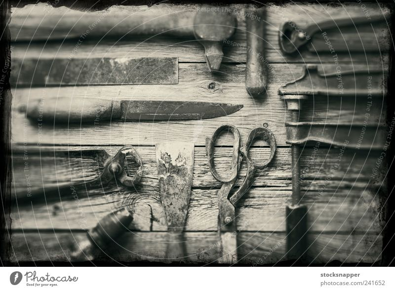 Old tools Rust Tool Vintage Worn out knife Scissors pliers Hammer Deserted obsolete Still Life carpentry Object photography