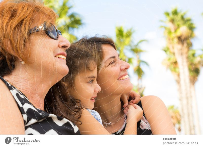 Three generations of women Lifestyle Happy Relaxation Summer Child Woman Adults Parents Mother Grandfather Grandmother Family & Relations Nature Park Old
