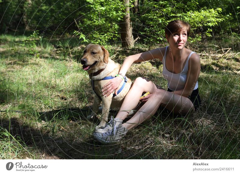Woman with blond Labrador in the clearing Joy Harmonious Trip Adventure Young woman Youth (Young adults) 18 - 30 years Adults Nature Plant Beautiful weather