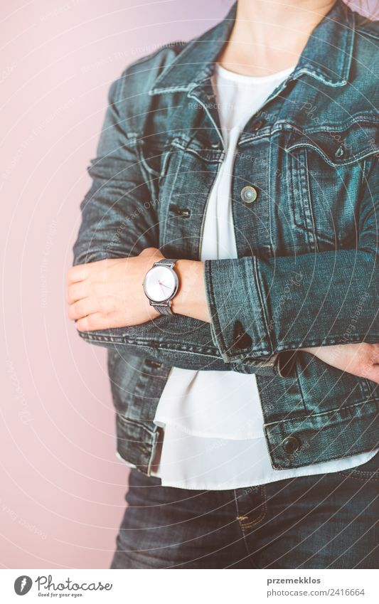 Woman wearing silver wristwatch and jeans jacket Lifestyle Elegant Style Clock Human being Young woman Youth (Young adults) Adults Body 18 - 30 years Fashion