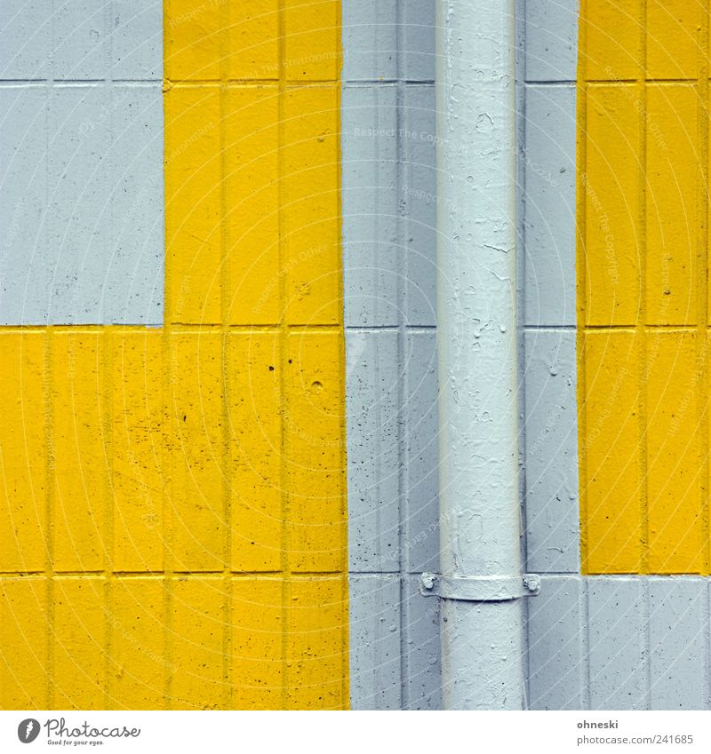 House (Residential Structure) Yellow Wall (building) Wall (barrier) Building Facade Tile Pipe Manmade structures Conduit Rain gutter