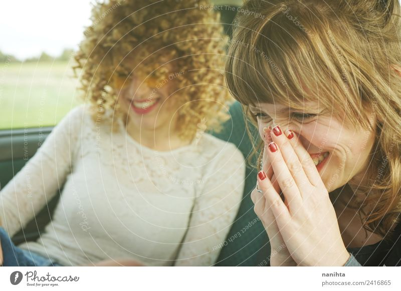 Two young women having fun together Lifestyle Style Joy Beautiful Hair and hairstyles Wellness Vacation & Travel Trip Human being Feminine Young woman