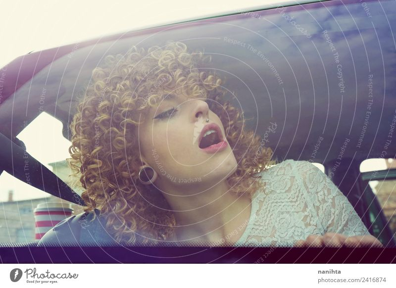 Young surprised woman in a road trip Lifestyle Style Beautiful Hair and hairstyles Face Vacation & Travel Tourism Trip Human being Feminine Young woman