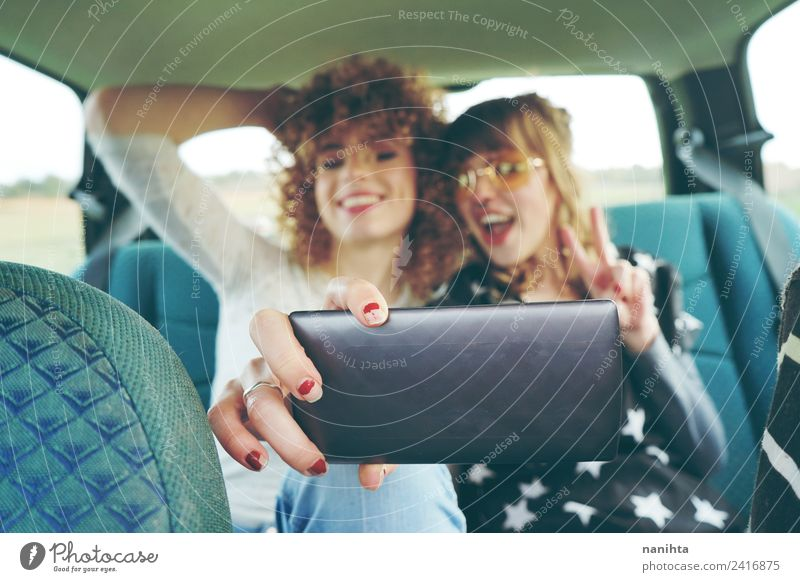 Two young friends taking a selfie with her phone Lifestyle Style Joy Vacation & Travel Tourism Trip Adventure Freedom Summer Summer vacation Cellphone Camera