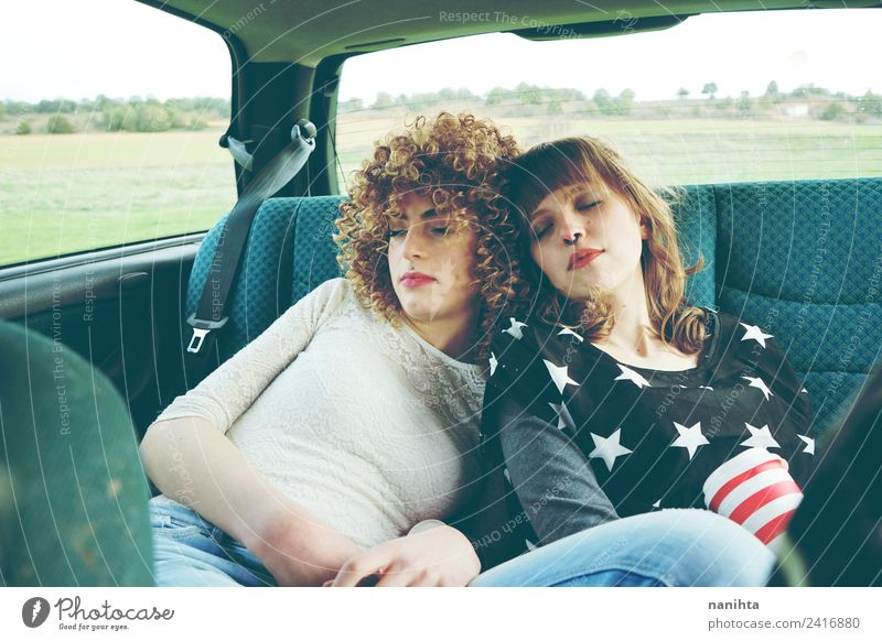 Two women friends sleeping in a car Lifestyle Style Wellness Relaxation Vacation & Travel Tourism Trip Adventure Freedom Summer vacation Human being Feminine