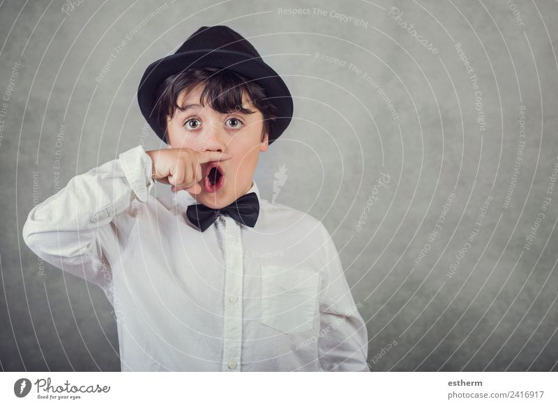 funny boy with hat and bow tie Child Human being Joy Adults Lifestyle Funny Emotions Boy (child) Feasts & Celebrations Masculine Infancy Smiling Happiness