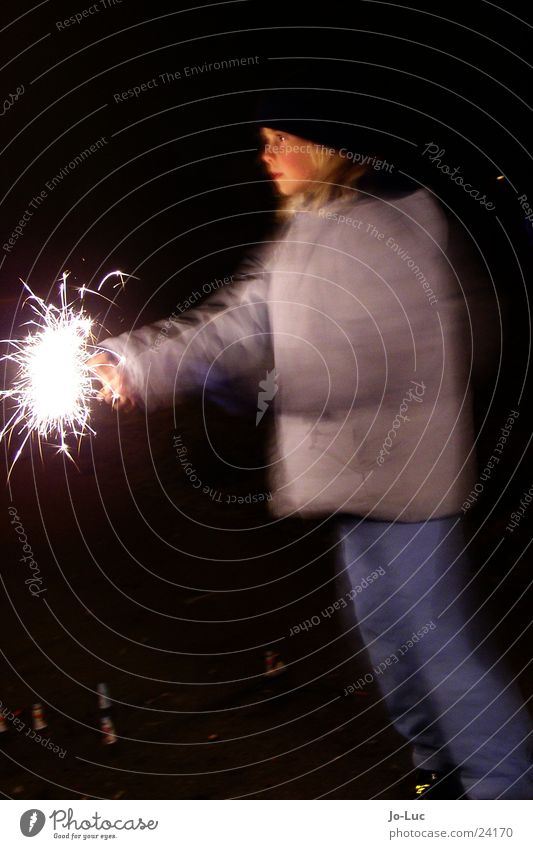 Child Girl Face Bright New Year's Eve Spark Spray Sparkler Rustling