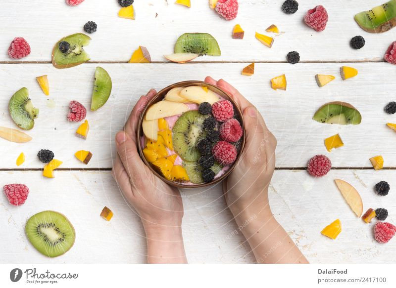 breakfast bowl Fruit Apple Dessert Breakfast Lunch Dinner Vegetarian diet Bowl Summer Hand Fresh Hip & trendy background Berries brunch front healthy