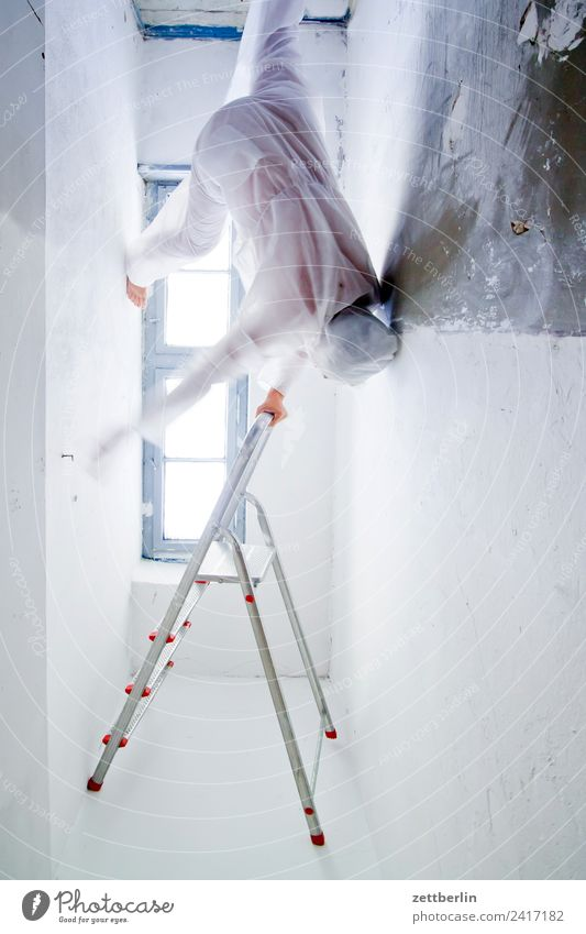 gravitation Suit Ghosts & Spectres  Interior shot Interior design Climbing Ladder Man Mask Carnival costume Human being Room Stand Ascending Sudden fall