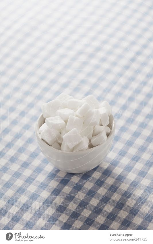 Sugar White Food Table Sweet Checkered Bowl Cube Ingredients Tablecloth Object photography Food photograph Lump sugar