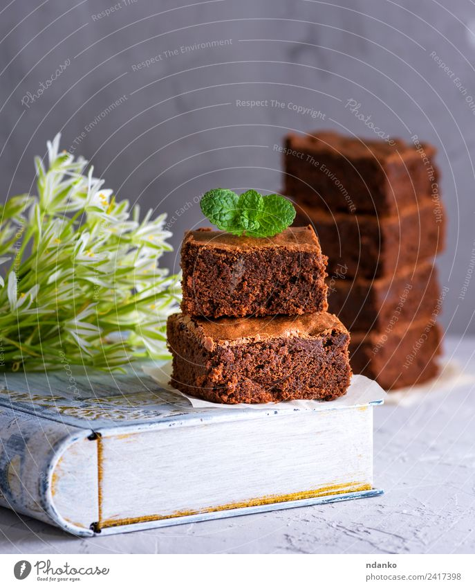 square pieces of chocolate brownie Dessert Candy Eating Table Flower Dark Delicious Brown White brownies cake food Sugar Slice background sweet cookie Bakery